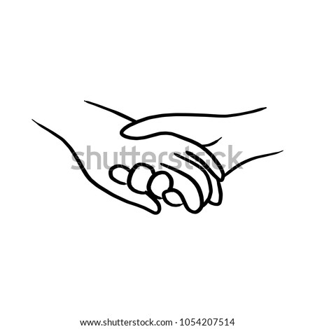 doodle hand of lover holding