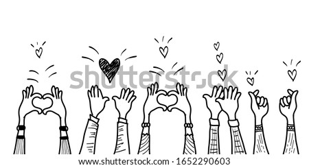 doodle hands up,Hands clapping with love. applause gestures. Give and share your love to people. vector illustration