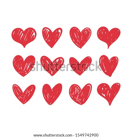 Doodle hearts, hand drawn love heart collection. stock photo