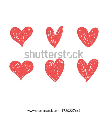 Doodle hearts, hand drawn love heart collection.