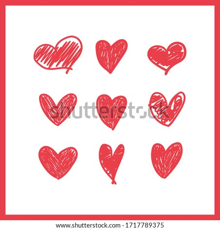 Doodle hearts, hand drawn love heart collection. Vector illustration.