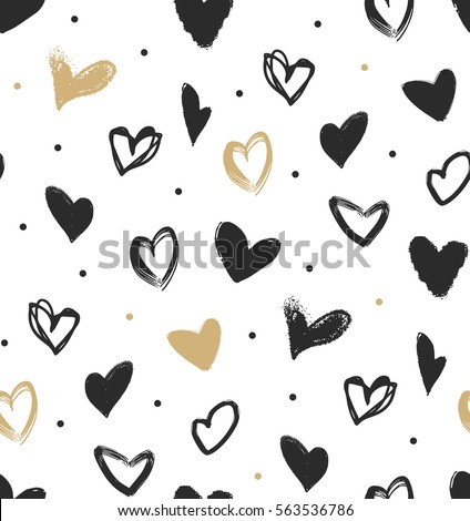 doodle hearts in black and gold