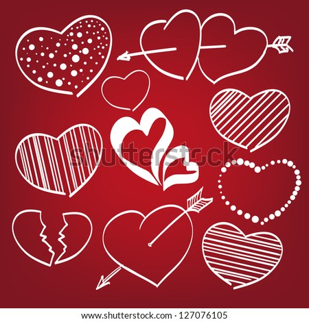 Doodle hearts set  hand drawn  vector illustration