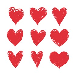 Doodle hearts, set of hand drawn love heart collection. Vector illustration eps 10