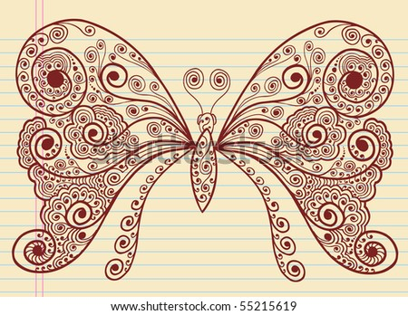 stock vector : Doodle Henna Sketch Groovy Butterfly Vector Illustration