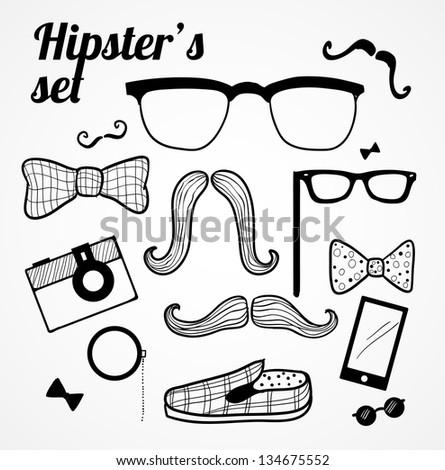 Doodle hipster's set.