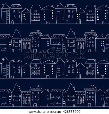 doodle houses seamless pattern