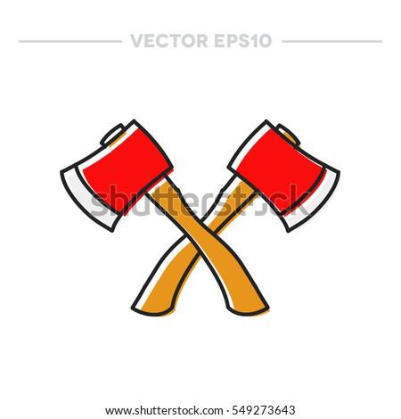 doodle icon axe vector
