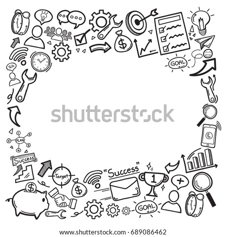 Doodle icon hand draw is a concept of a component that is geared towards success of business, financial or in your life with copy space. vector illustration.