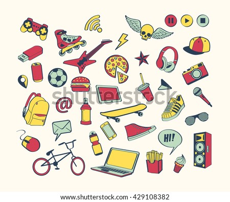 Doodle Icon Set For Teenagers Colored Hand Drawn Collection Sport Food Music