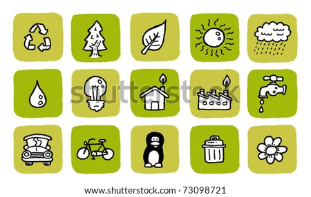 doodle icon set - green - stock vector