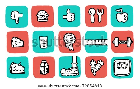 doodle icon set - health. colors are changeable. - stock vector