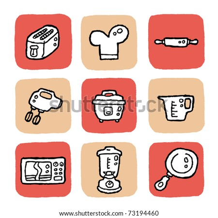 doodle icon set - kitchen appliances