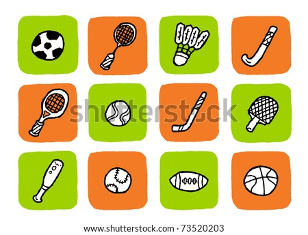 doodle icon set - sports - stock vector