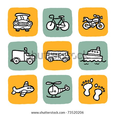 doodle icon set - vehicle