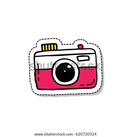 doodle icon, sticker. camera. vector illustration