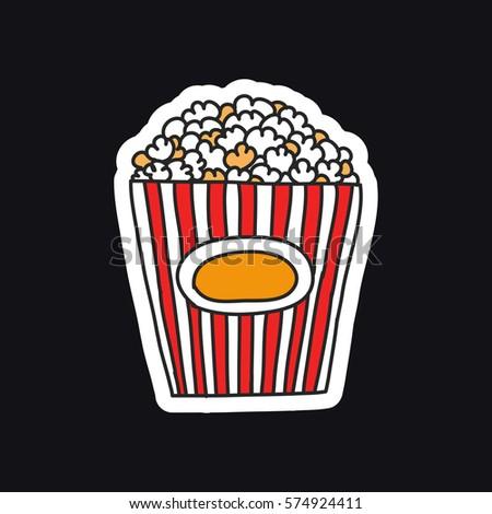 doodle icon, sticker. popcorn. vector illustration