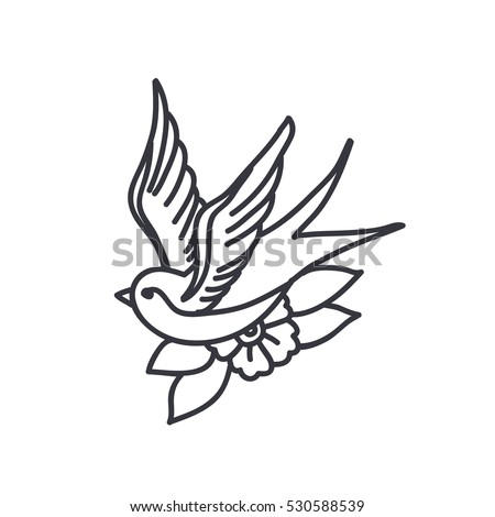 doodle icon. swallow. traditional tattoo flash. vector illustration