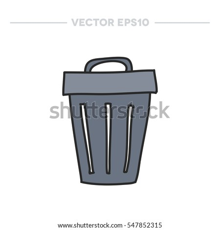doodle icon. trash can. vector illustration
