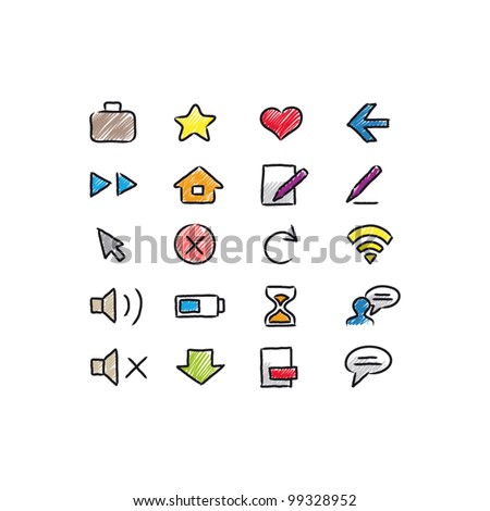 Doodle icons set for homepage - stock vector