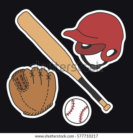 stock-vector-doodle-icons-stickers-baseball-set-vector-illustration