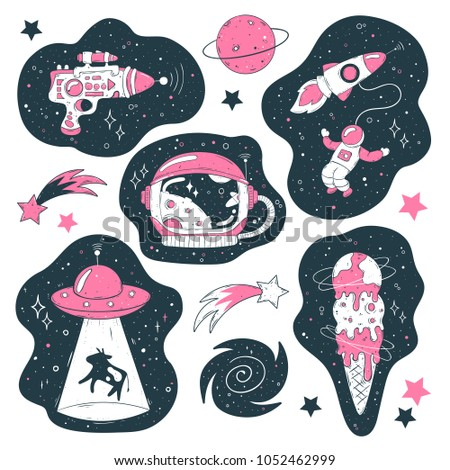 Stock Photo Doodle icons: UFO, astronaut with a rocket, planet, helmet, comet, ice cream, milky way on a galaxy sky background