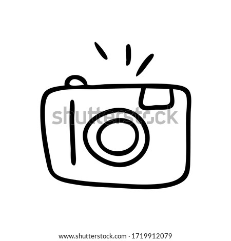 Doodle illustration of a camera isolated on a white background. Camera icon drawn by hand. Vector illustration. Photo stock ©