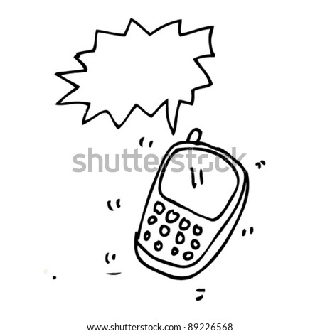 doodle illustration of cell phone ringing