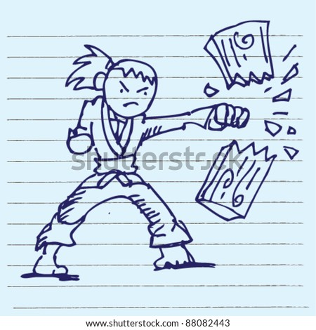 doodle illustration of karate karate doing board break