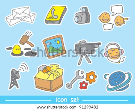 doodle illustration of Mobile phone icons