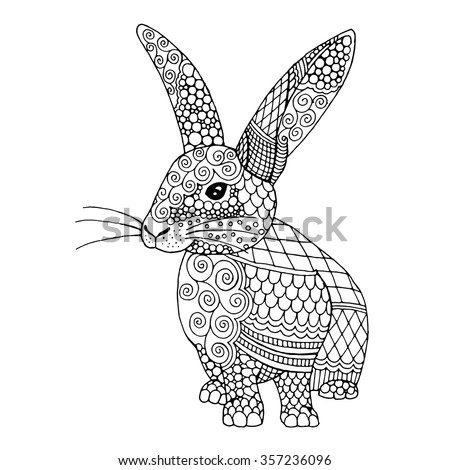 doodle illustration on an bunny