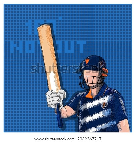 Doodle Indian Cricket Batter Raising His Bat And 100 Not Out Font On Blue Grid Background.