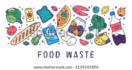 Doodle infographic concept of food waste problem. Vector illustration. Rotten, spoiled and expired food.
