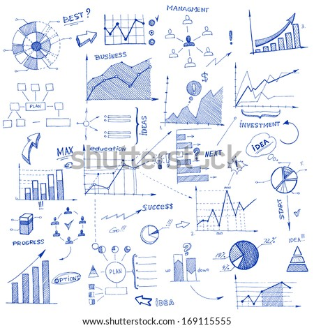 Doodle infographic design elements isolated vector illustration