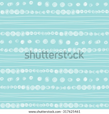 Doodle inky white and blue hand drawn abstract circles and wavy stripes pattern. Vector seamless geometric ornament. Borders and brush lines set.