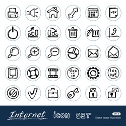 Doodle Internet and finance icons set. Hand drawn sketch illustration isolated on white background
