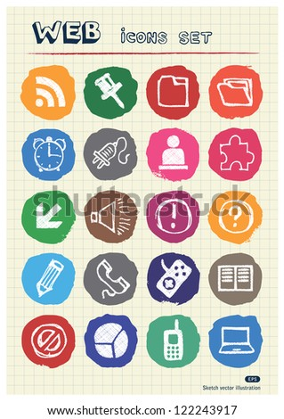 Doodle Internet web icons set drawn by chalk. Hand drawn vector elements pack isolated on paper