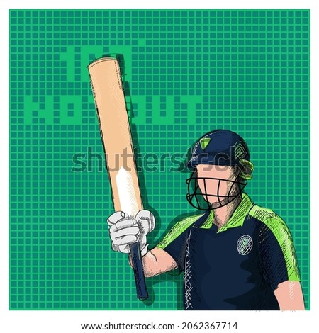 Doodle Ireland Cricket Batter Raising His Bat And 100 Not Out Font On Green Grid Background.