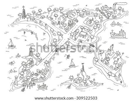 doodle islands map top view of