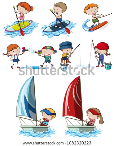 Doodle Kids and Sport Activities illustration