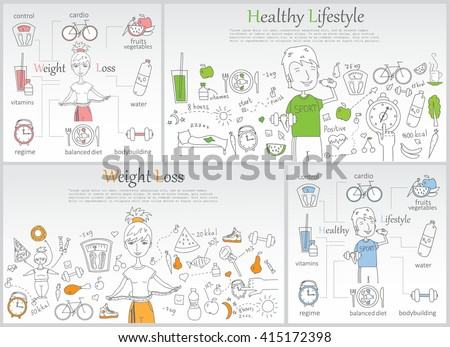 doodle line banners of healthy