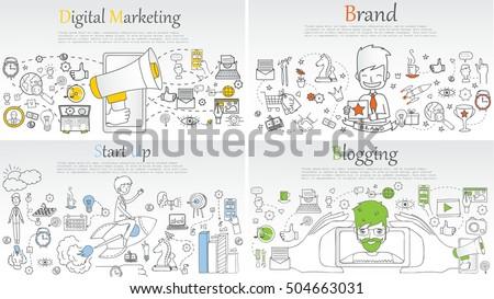 Doodle line design of web banner templates with outline icons of blogging, digital marketing, start up and branding.Vector illustration concept for website or infographics.
