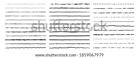 Doodle lines. Grunge hand drawn geometric painting. Isolated wavy, dotted or straight underlines. Pen and pencil sketch. Collection of scrapbooking decorative templates. Vector text separator flat set Stock foto ©