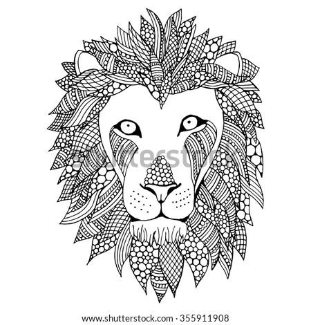 doodle lion head vector