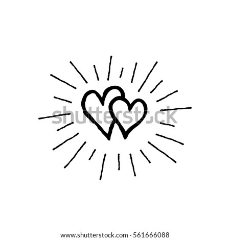 Doodle love hearts pattern with ray beams. Back and white Valentine's day holiday ornamental decor element. Good for greeting card, tattoo design