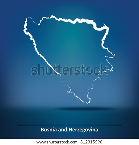 doodle map of bosnia and
