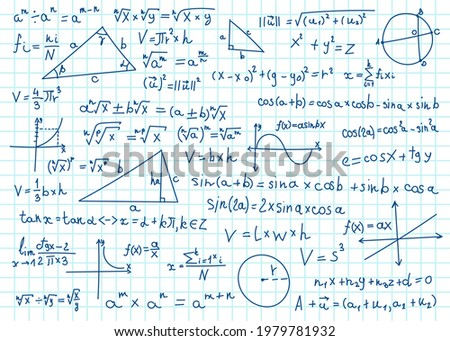 Doodle math formulas. Handwritten mathematical equations, schemes on notebook squared paper. Algebra or geometry calculations vector set. College, school or university lecture notes Foto stock ©