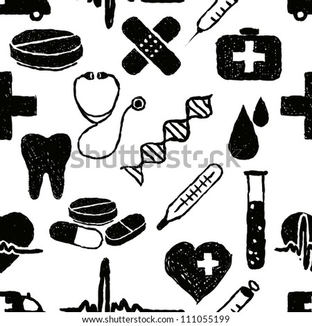 doodle medical seamless pattern