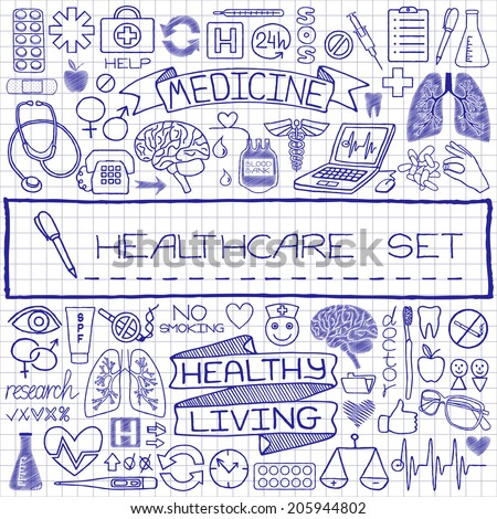 doodle medical set of icons...