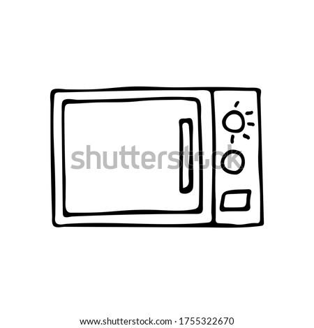 Doodle microwave icon in vector. Hand drawn microwave icon in vector